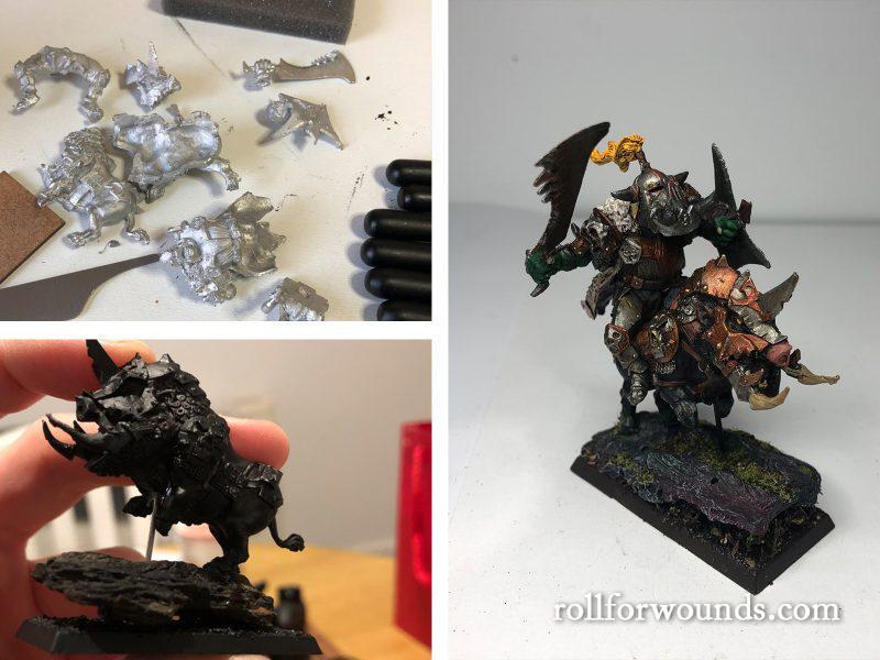 Mantic Games Orc Krudger riding Warboar conversion