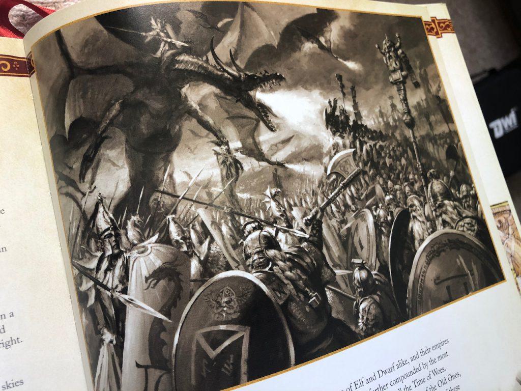 Illustration of dragon fighting elves