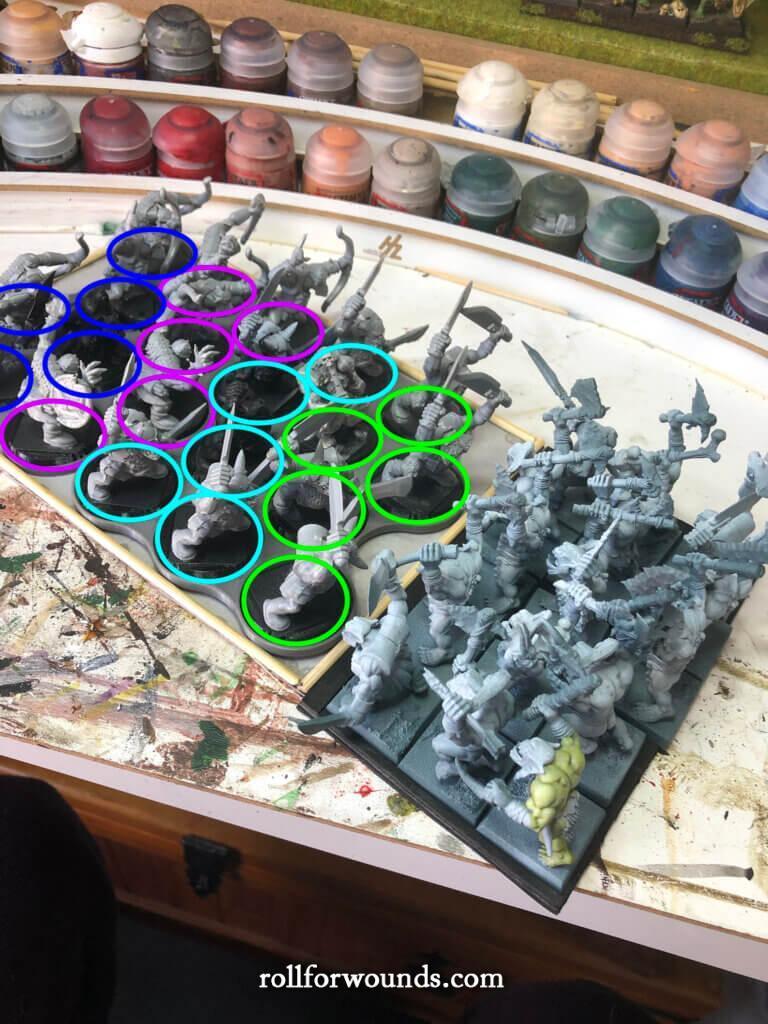 Circular 32mm bases adapted for Warhammer Fantasy