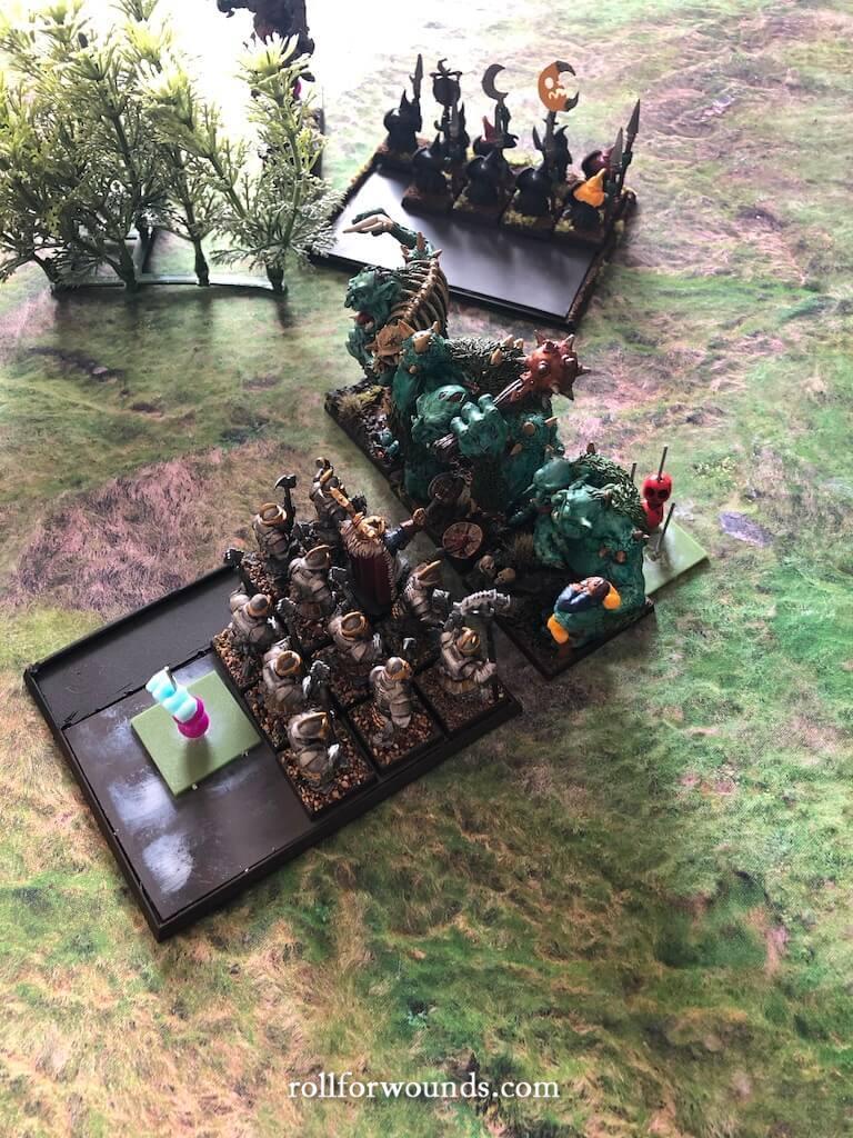 Dwarf thane beats River Trolls in close combat