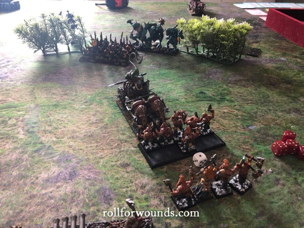 Orc boar chariot charging dwarf slayers