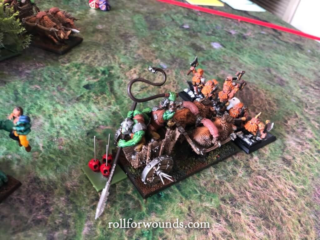 Orc Boar chariot versus Dwarf Trollslayers